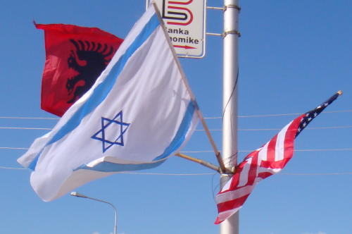 Kosovo Israeli and American Flags
