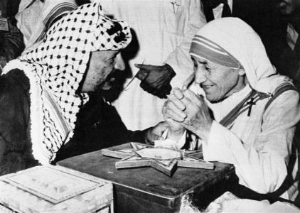 Yasser Arafat, leader of the Palestinian Liberation Organization, meets with Mother Teresa concluding Arafat's visit to India